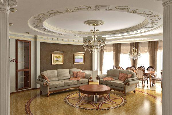 Потолок, украшенный лепниной
