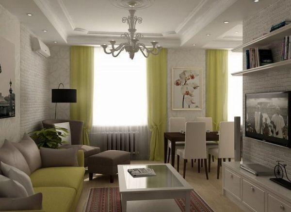 Дизайн гостиной-кухни в хрущевке