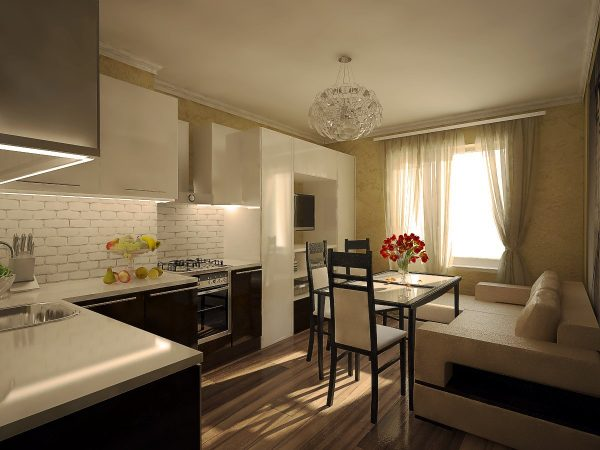 Бежевая гостиная-кухня без разделения на зоны