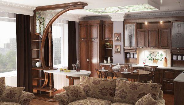 Дизайн кухни и гостиной: внутренняя отделка