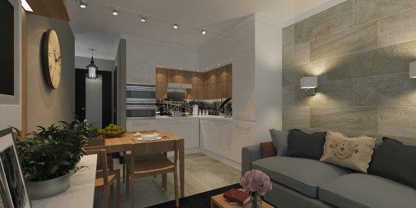 Серые стены под камень в гостиной и белые кухне