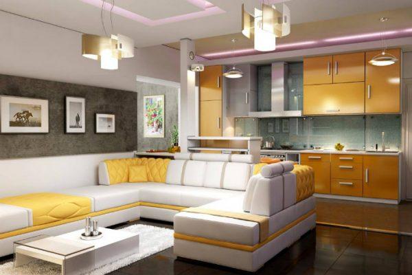 Вариант освещения кухни гостиной