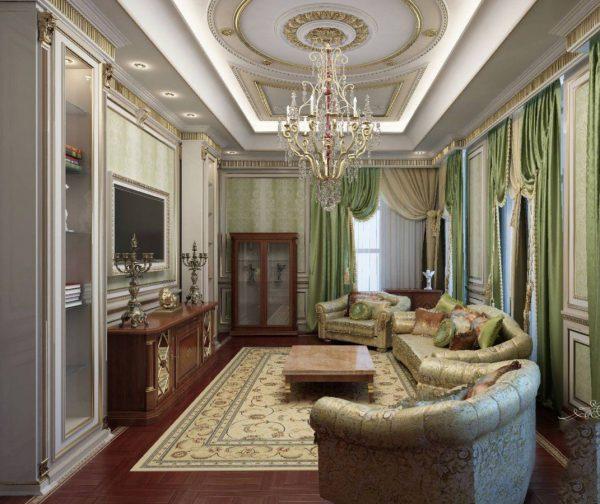 Классический интерьер гостиной в зеленых тонах