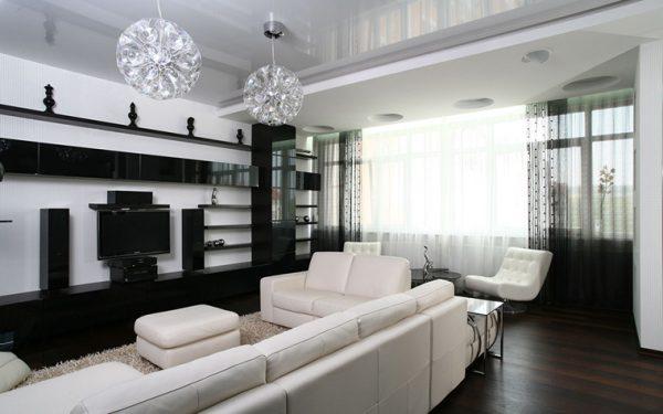 Интерьер гостиной спальни в бело черных тонах