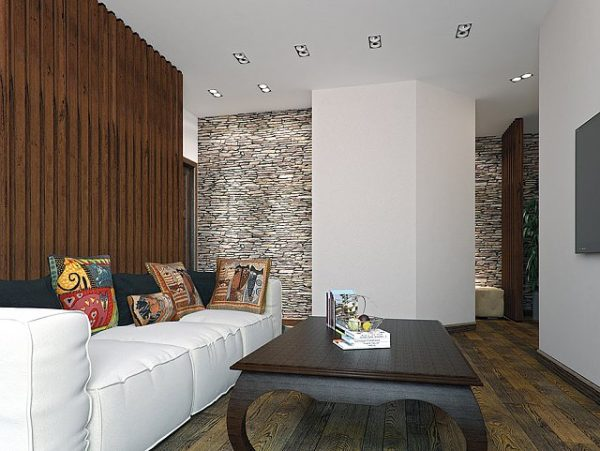 Отделка стен в гостиной натуральным деревом