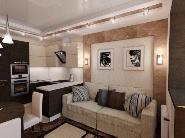 Дизайн маленькой кухни гостиной