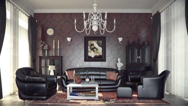 Классический английский стиль в интерьере темной гостиной