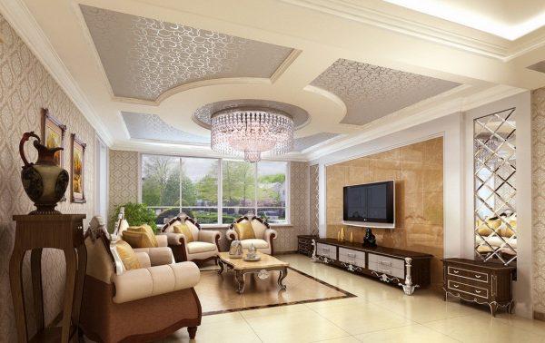 Дизайн потолка из гипсокартона в гостиной в стиле классика