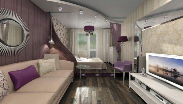 Гостиная-спальная в фиолетово-серых тонах.