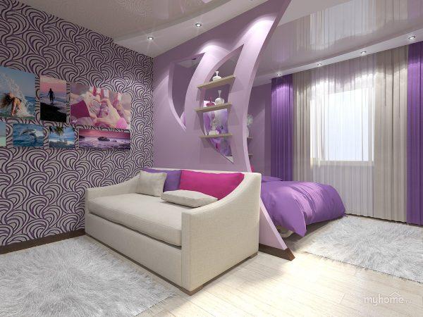 Небольшая гостиная-спальня с пестрыми обоями