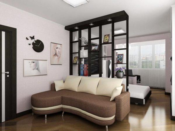 Разделение комнаты на 2 зоны спальня и гостиная