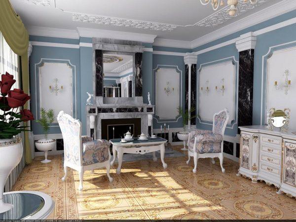 Голубой цвет в классическом интерьере