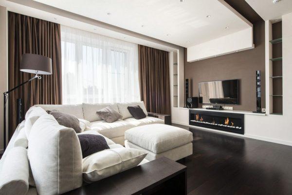 Коричневые шторы для гостиной в стиле хай тек