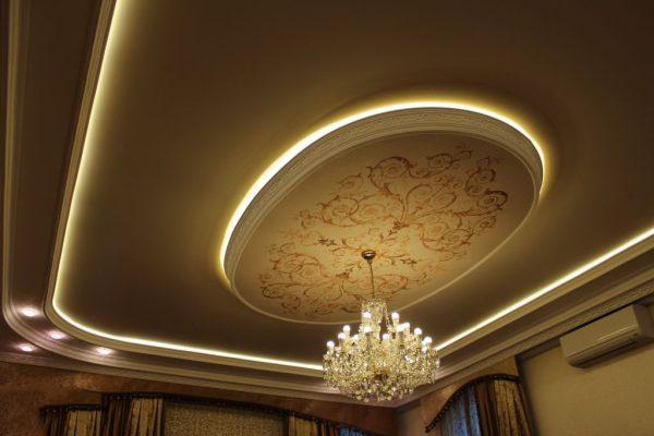 Натяжной потолок с подсветкой светодиодной лентой