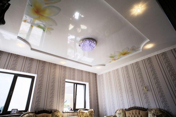 Двух уровневый потолок с фотопечатью.