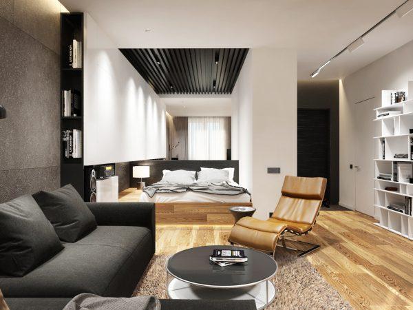 Совмещенные спальня и гостиная: интерьер в стиле минимализм
