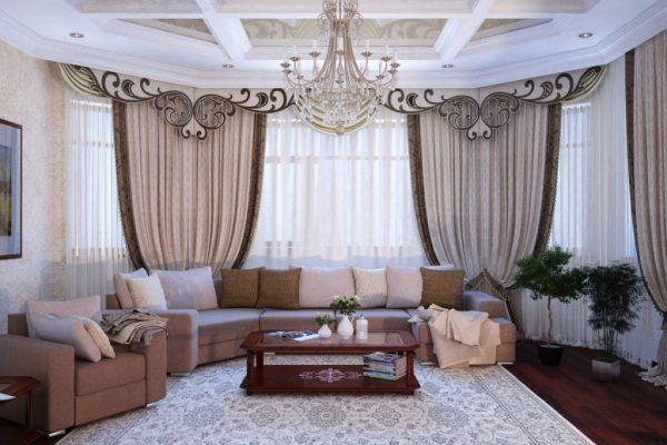 Потолок в гостиной с кессоннами