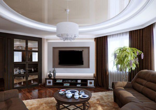Длинные шторы с тюлью в коричневом интерьере гостиной