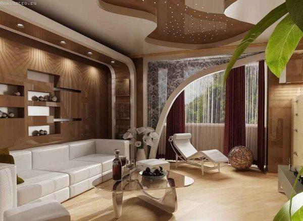 Многоуровневый потолок из гипсокартона в гостиной