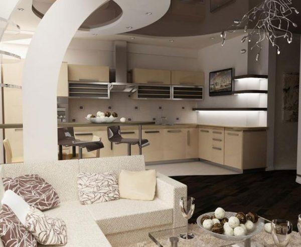 Пол в кухне гостиной: плитка и ламинат