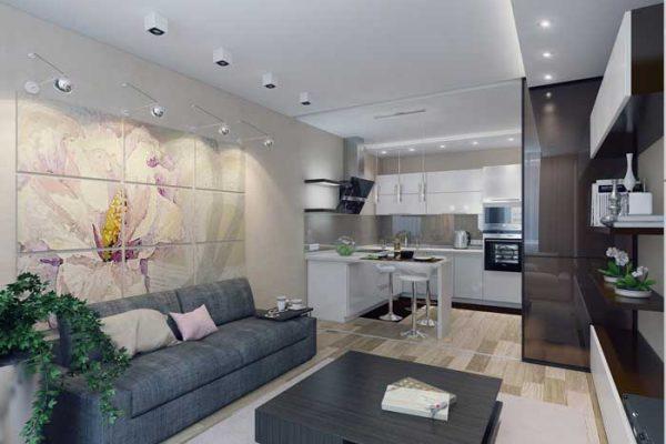 Кухня-гостиная: зонирование освещением