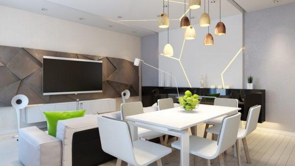 Белый стол и диван для кухни гостиной