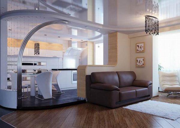 Зонирование помещения: кухня с подиумом