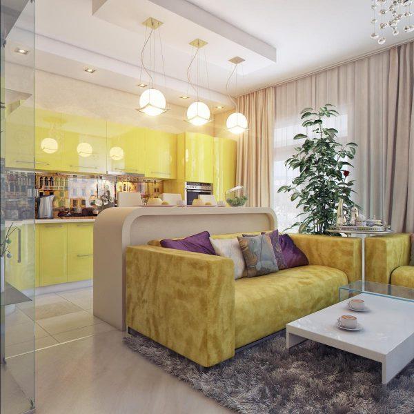 Желтый цвет в интерьере гостиной кухни