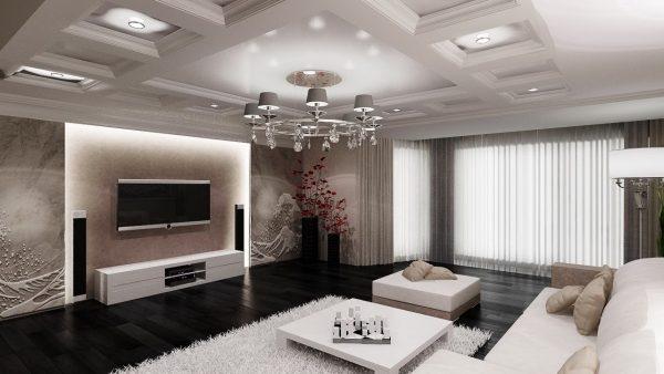Дизайн проект современной гостиной