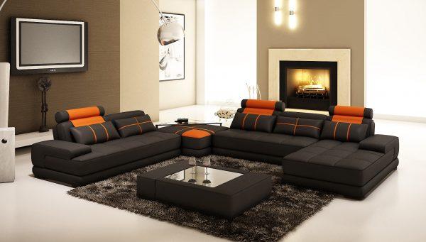 Стильный диван коричневого цвета
