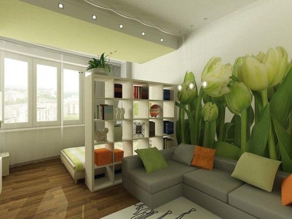 Зонирование комнаты на гостиную и спальную фотообоями