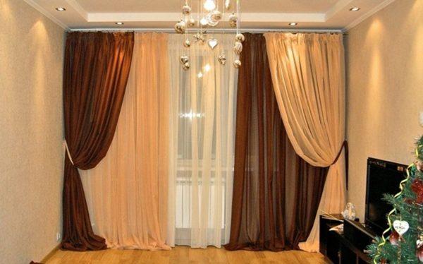 Трех цветные шторы из вуали в гостиную