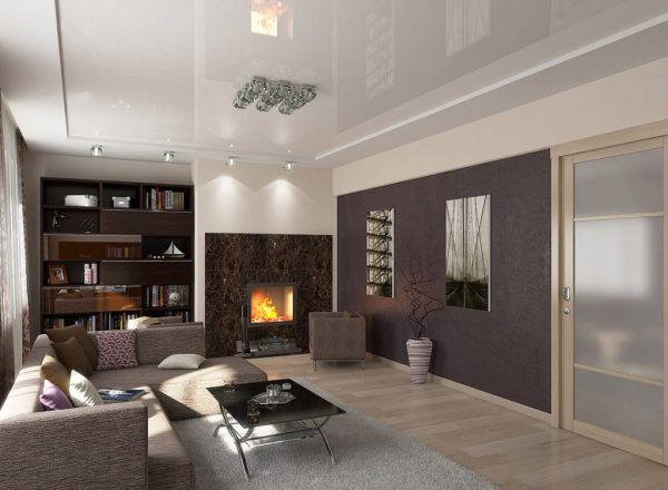 Стильная гостиная в коричневых тонах
