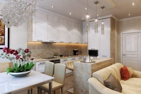 Освещение в классической кухне гостиной