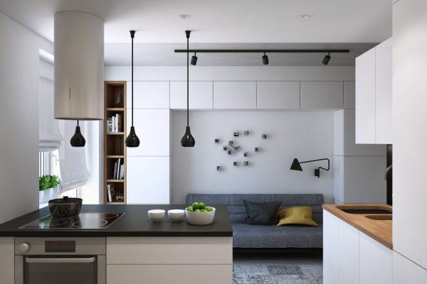 Светлая мебель для кухни в стиле минимализм