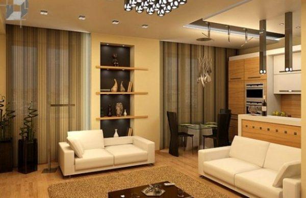 Вариант размещения мебели в кухне гостиной