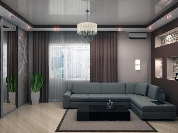 Двух уровневый потолок в гостиной