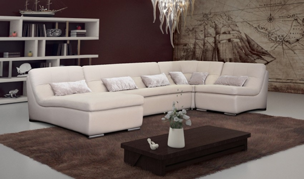 Светлый угловой диван в интерьере