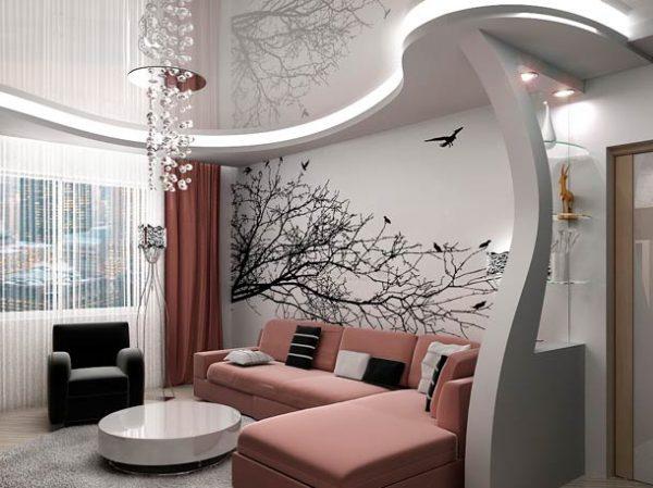 Маленькая гостиная с натяжным потолком