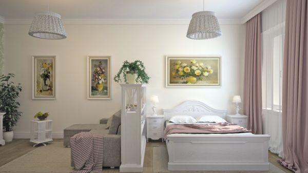 Классический стиль: зонирование комнаты на гостиную и спальню