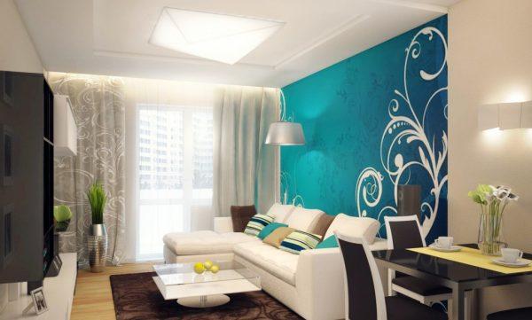Декор стен бирюзовым цветом