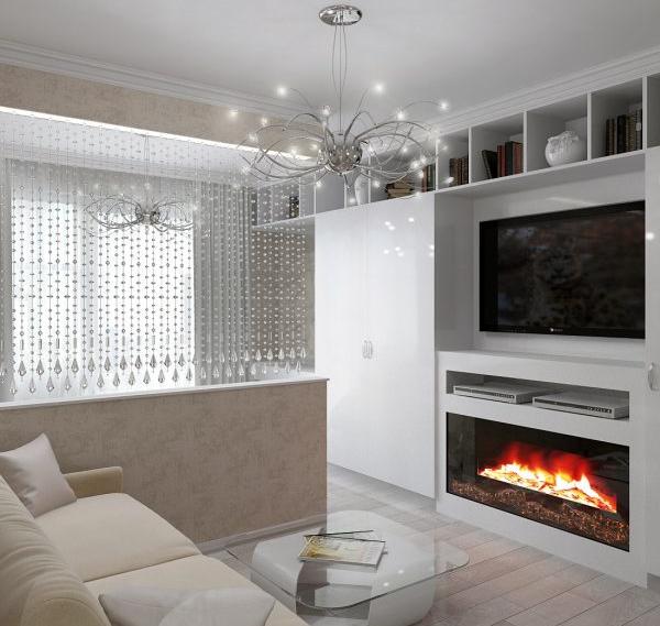 Белая гостиная спальня с камином
