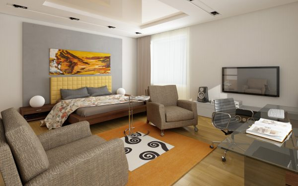 Гостиная спальня в пастельных тонах