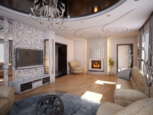 Стиль модерн: гостиная с камином