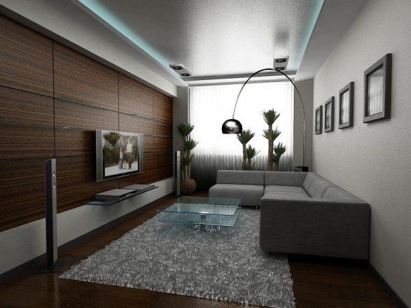 Строгая гостиная в стиле хай тек