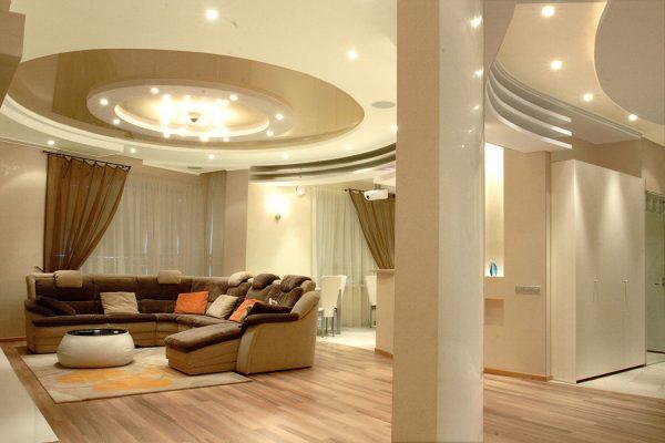 Потолок в гостиной в стиле модерн