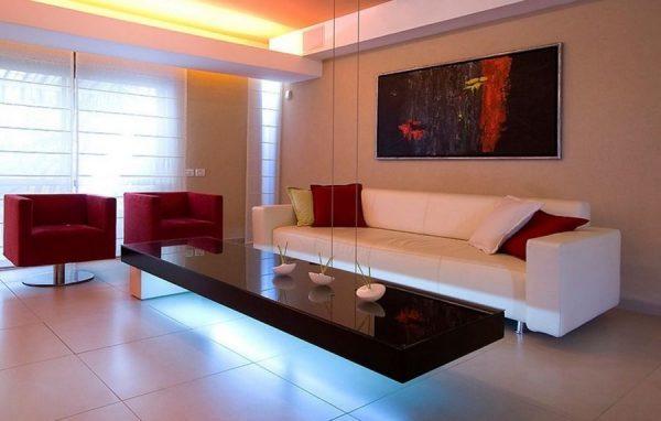 Оформление окон в гостиной в стиле хай тек