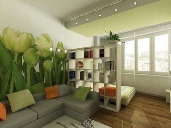 Зонирование в небольшой гостиной спальне