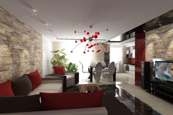 Современная гостиная с элементами хай тек
