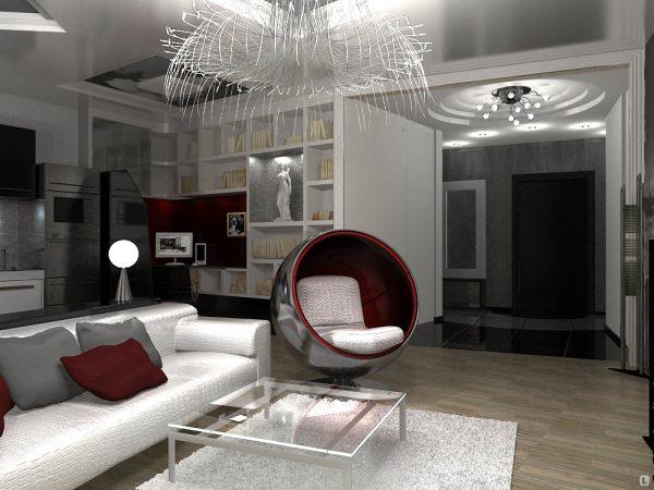 Ламинат для пола в гостиной в стиле хай тек